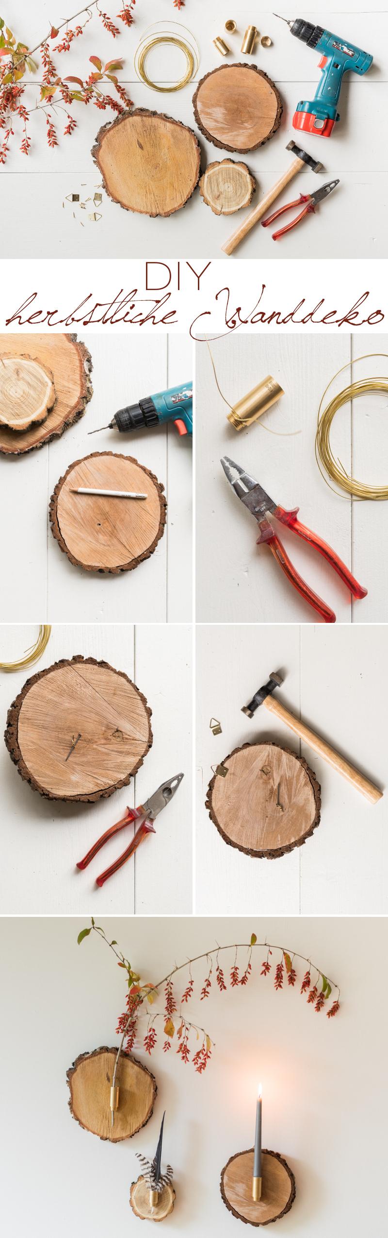 Anleitung für selbst gemachte DIY Deko für die Wand aus Baumscheiben mit Federn und Zweigen als herbstliche Wanddeko für das Wohnzimmer