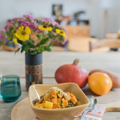 Keine Zeit zum Mittagessen: Kürbis-Orangen-Quinoa mit Süßkartoffeln