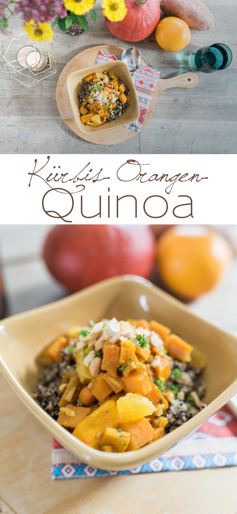 Rezept für herbstliches Kürbis-Orangen-Quinoa mit Süßkartoffeln als vegetarisches Hauptgericht