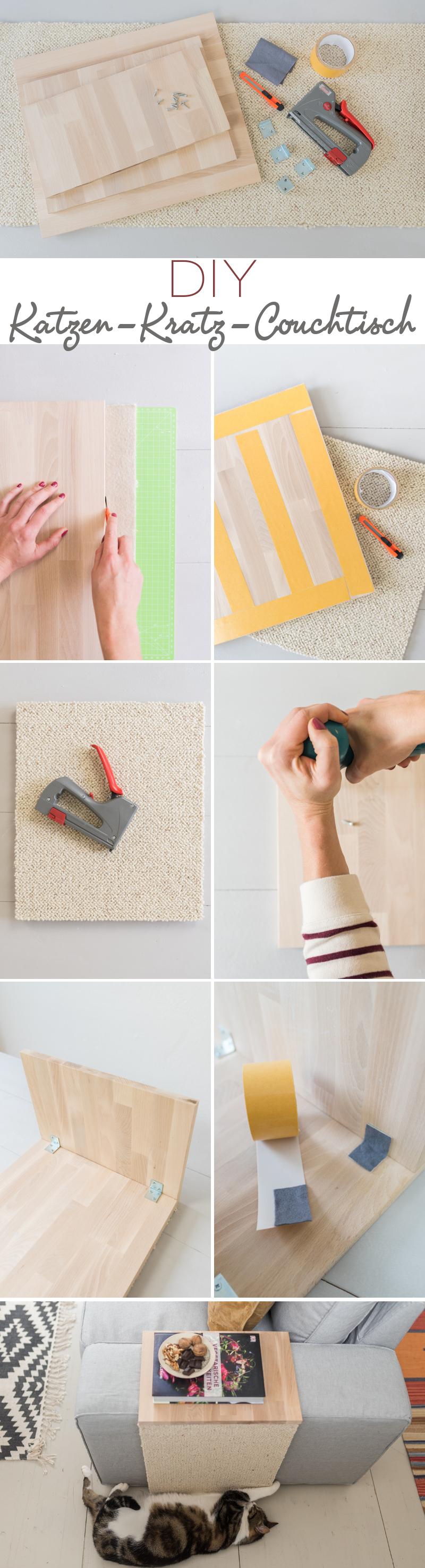 DIY Anleitung für einen selbst gebauten Couchtisch als Katzen Kratzmöbel und Beistelltisch in einem