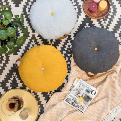 DIY – runde Bodenkissen mit Ledergriff