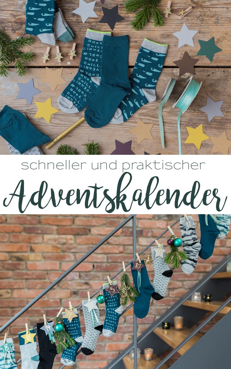Anleitung für einen selbstgemachten DIY Adventskalender für Kinder aus Socken, der schnell gemacht und praktisch ist