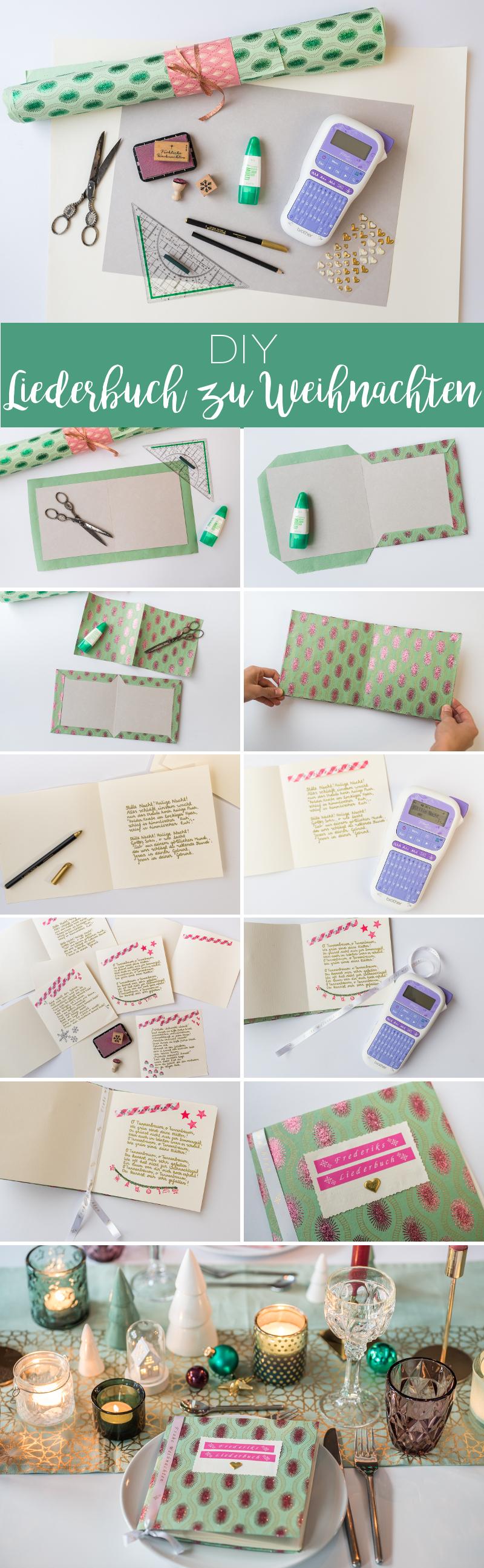 DIY Anleitung für ein selbstgemachtes Liederbuch zu Weihnachten aus Papier als Tischdeko