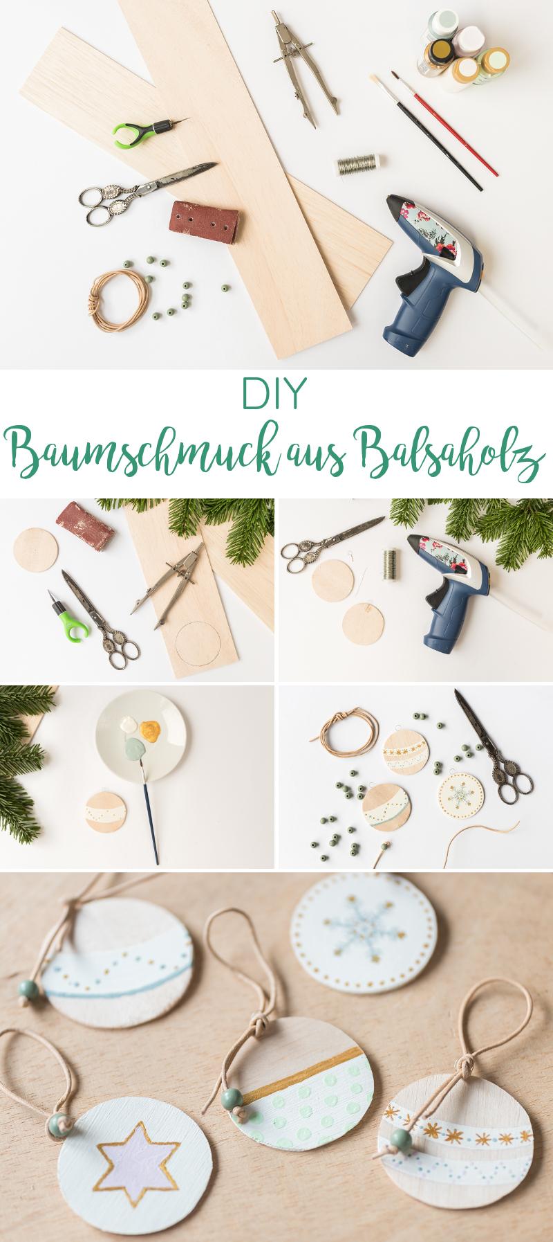 DIY Anleitung für selbstgemachten Baumschmuck aus Balsaholz im skandinavischen Look mit Leder und Perlen in Pastellfarben
