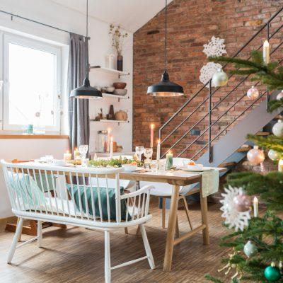 Meine Tischdeko für Weihnachten in mintgrün und gold