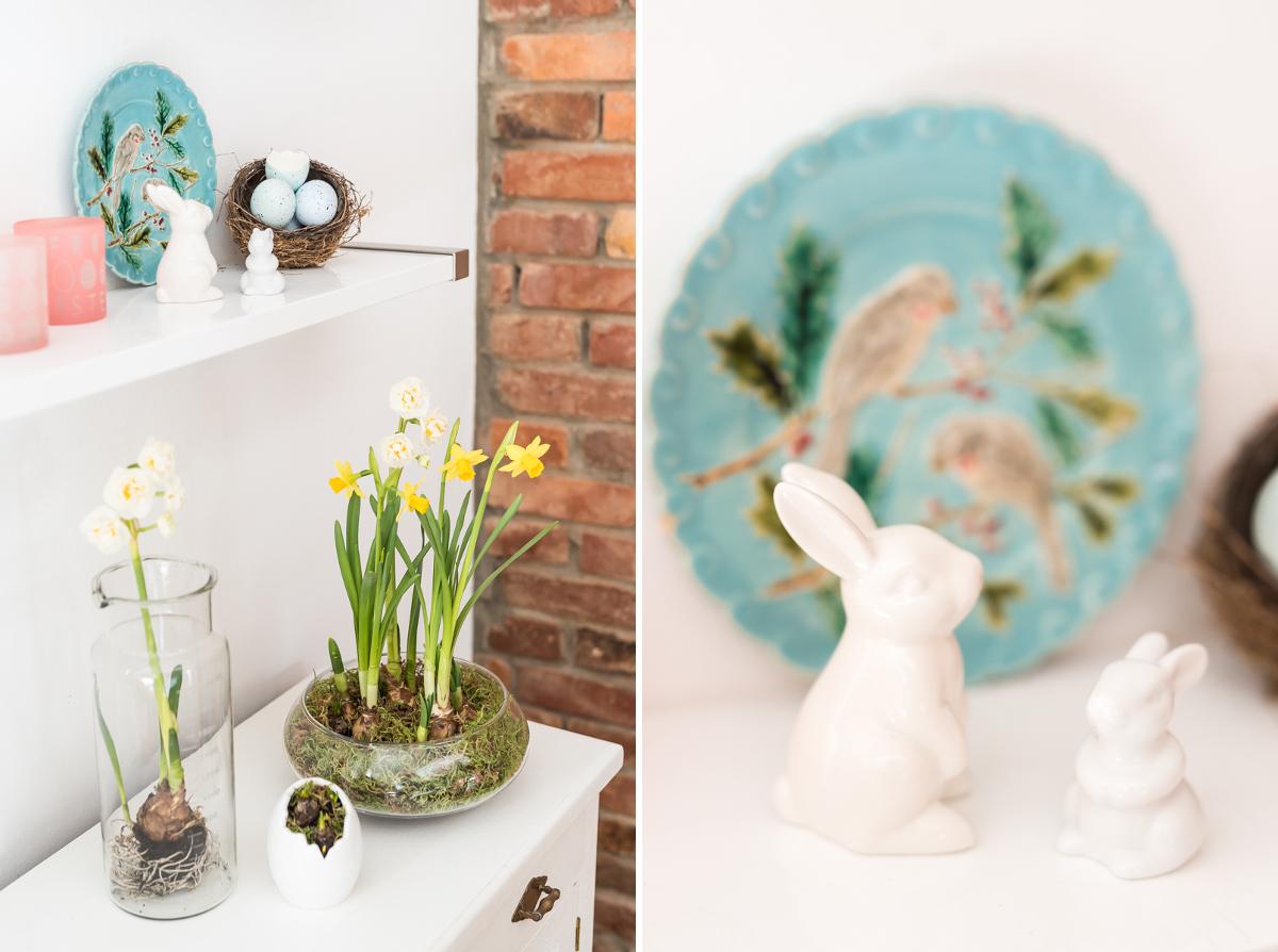 Dekoideen mit Zweigen und Frühblühern im Frühling für das Wohnzimmer zu Ostern