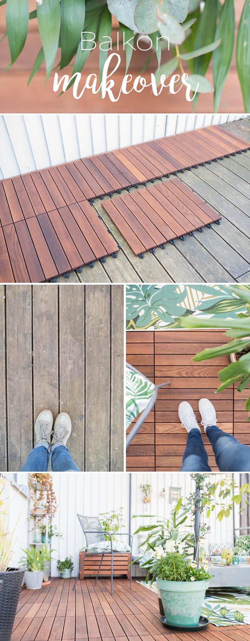 Neugestaltung eines Balkons im Botanik Look mit vorher nachher Bildern, neuem Fußboden aus Holz und grüner Deko im Dschungel Look