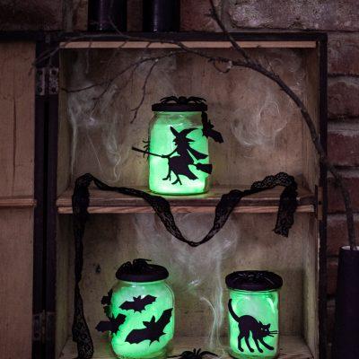 DIY - leuchtende Halloween Deko Gläser