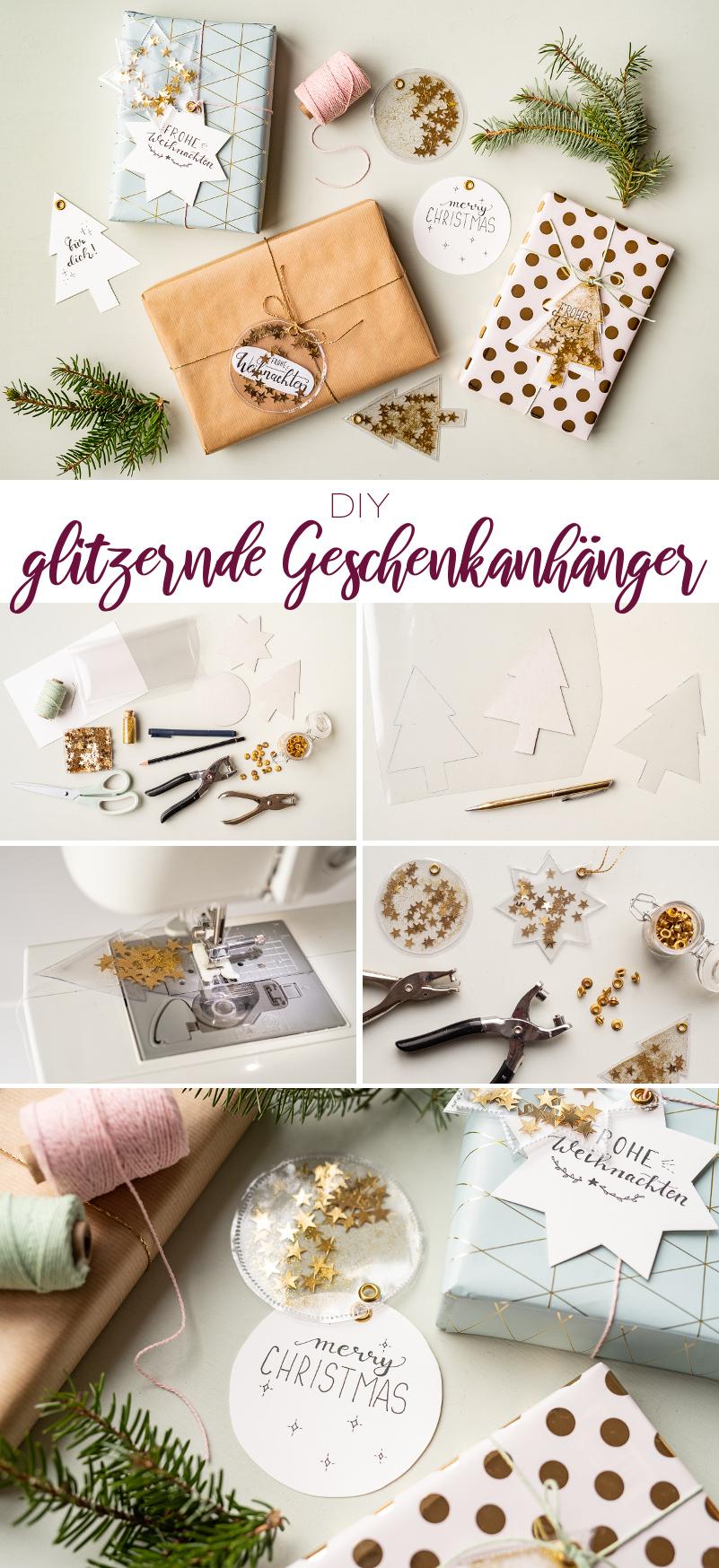 Anleitung für selbst gemachte DIY Geschenkanhänger aus Wachstuch mit Glitzer und Sternen als schöne Verpackung für Geschenke zu Weihnachten