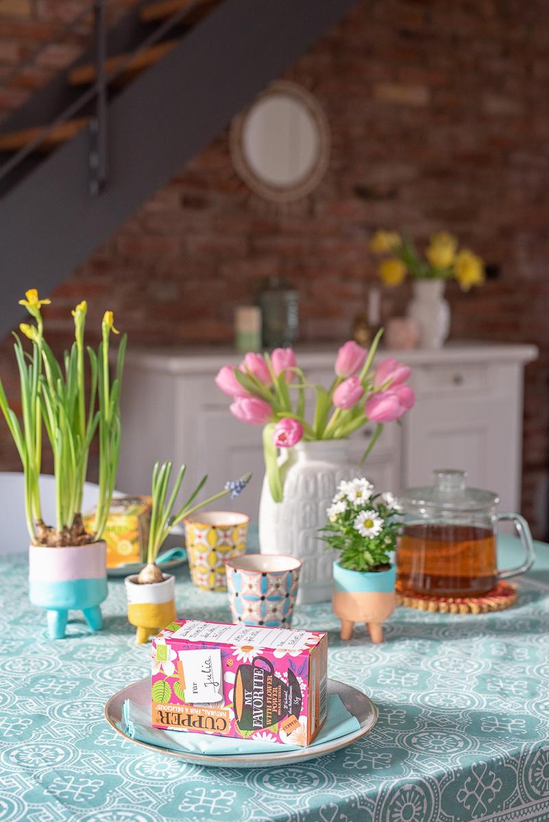 Anleitung für DIY Blumentöpfe aus lufttrocknendem Ton als kleines Mitbringsel und Geschenk mit Frühblühern im Frühling