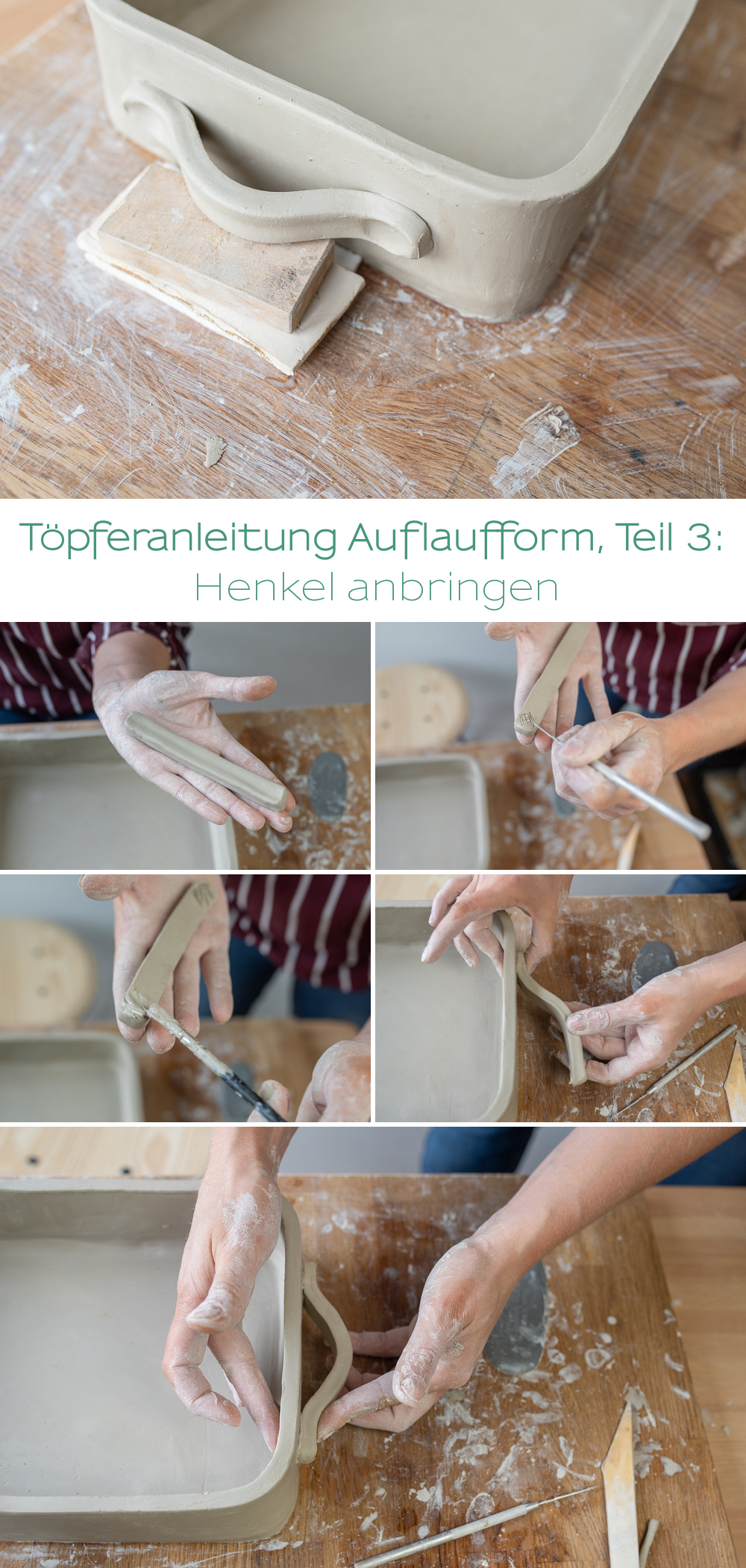 Schritt für Schritt DIY töpfer Anleitung für eine handgetöpferte Auflaufform aus Ton für Anfänger und Fortgeschrittene