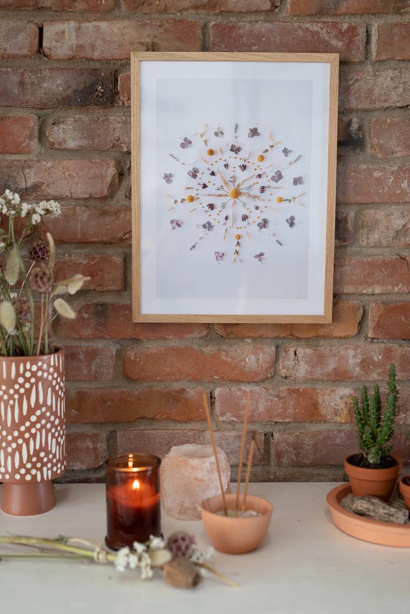 DIY – Deko mit Trockenblumen (2): Blumen Mandala Print