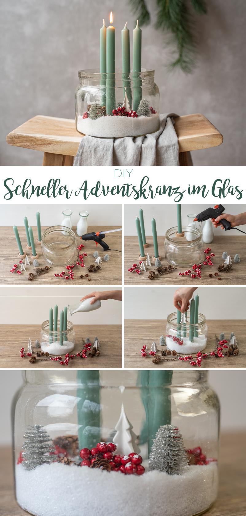 DIY Anleitung für einen schnellen und kreativen last minute Adventskranz im Glas im Scandi Look in Mintgrün, weiß und Rot