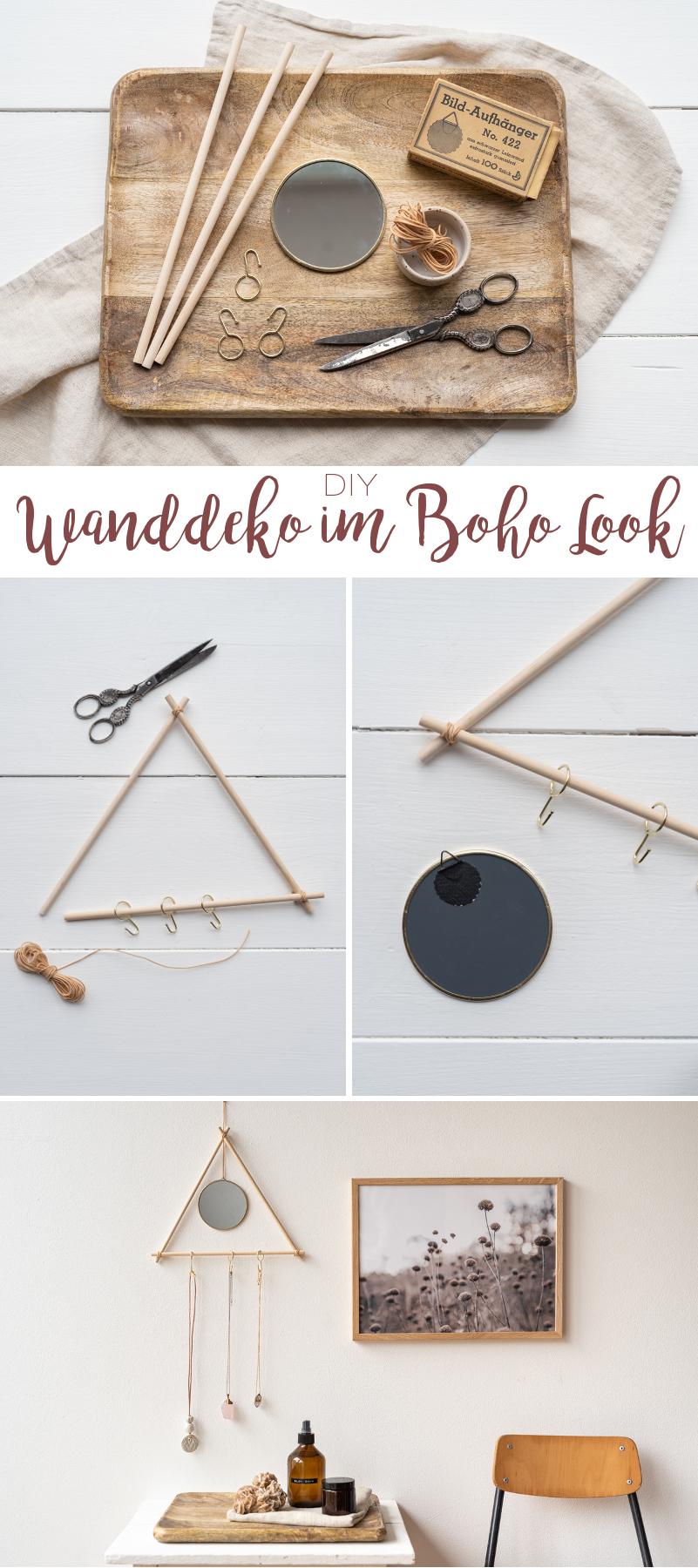 DIY Anleitung für eine einfache Wanddeko aus Holzstäben mit Spiegel und Haken im Boho Look als Aufbewahrung für Schmuck