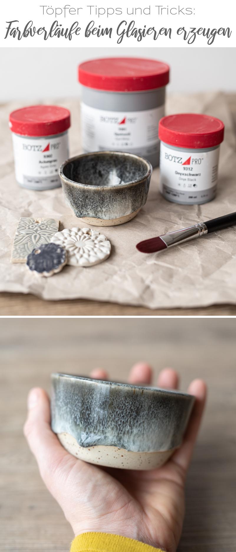 Tipps und Tricks beim Töpfern und Glasieren von Farbverläufen mit Glasuren von Botz