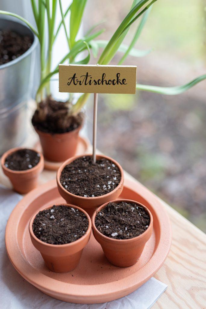 Aussaat vom Tomaten und Gemüsepflanzen im März mit selbst gemachten DIY Pflanzschildern aus Balsaholz