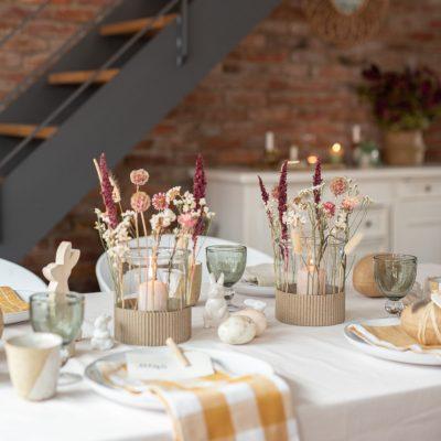 DIY - Windlicht mit Trockenblumen und Dekoideen für eure Tischdeko zu Ostern