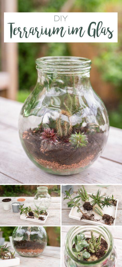 DIY Anleitung, wie ihr ein Terrarium im Glas selber bepflanzen könnt als Deko für das Wohnzimmer im urban jungle boho Look