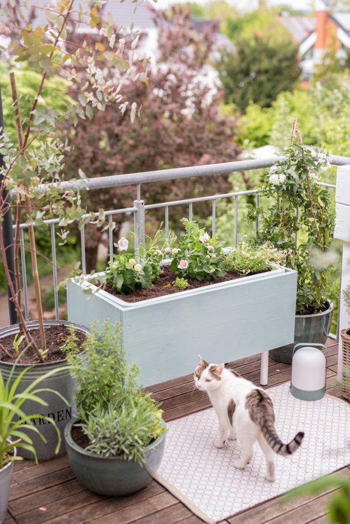 Anleitung für einen selbstgemachten, günstigen DIY Pflanzkübel aus Holz in Mintgrün im Plant Box scandi Look als Deko für den Balkon