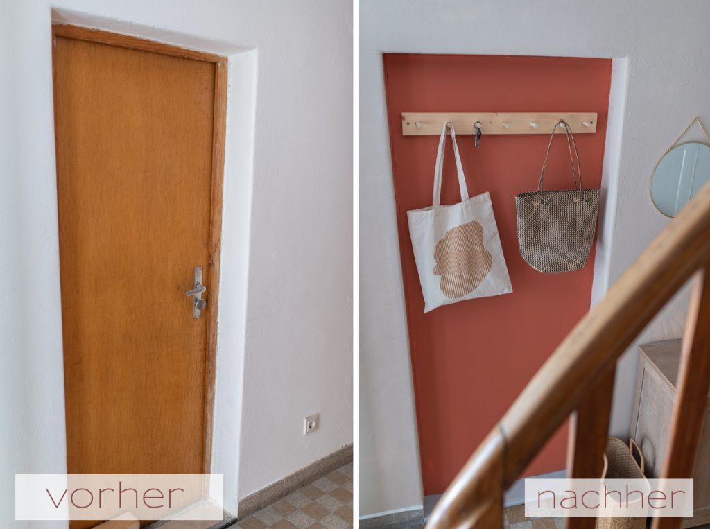 Einfache DIY Projekte für den Flur mit selbst gebauter Hakenleiste aus Holz im scandi Look und Sichtschutz aus Holz und Raffiabast als Deko Lösung für den Flur