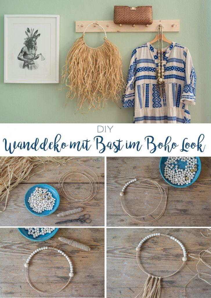 DIY Anleitug für eine einfache, sommerliche Wanddeko mit Raffiabast im Boho Ibiza Look