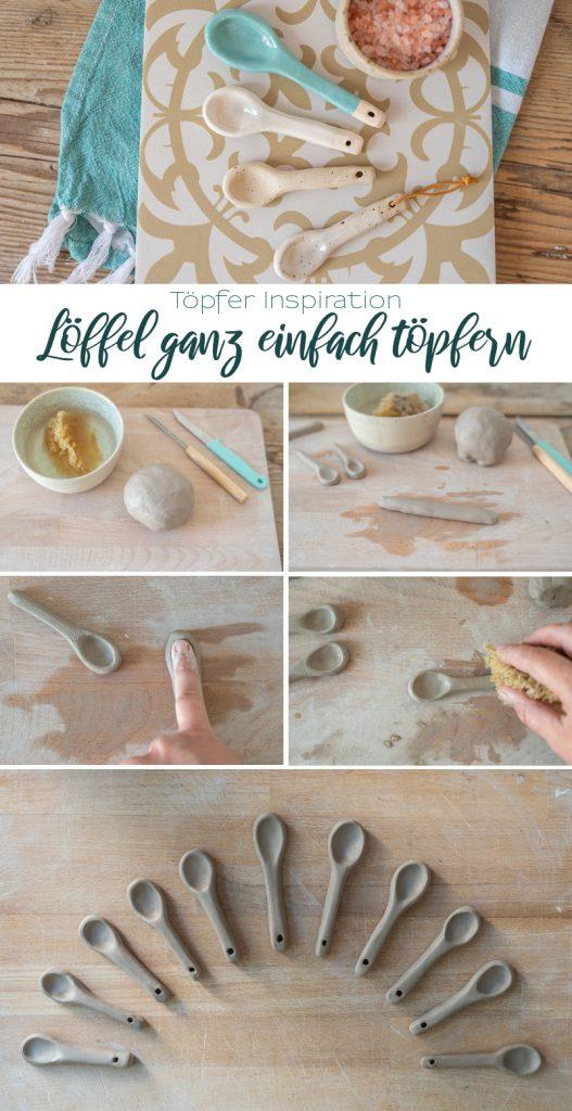 DIY Töpfer Anleitung für handgetöpferte Löffel als kleines Geschenk und selbstgemachtes Mitbringsel