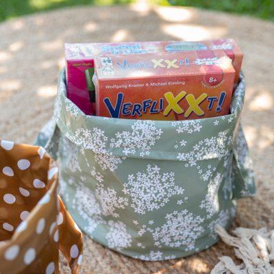 DIY Camping (2): Spiele für Kinder in selbst genähten Körben aus Wachstuch