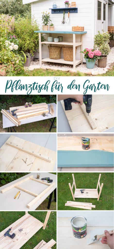 DIY Anleitung für einen einfachen, selbst gebauten Pflanztisch aus Holz für den Garten
