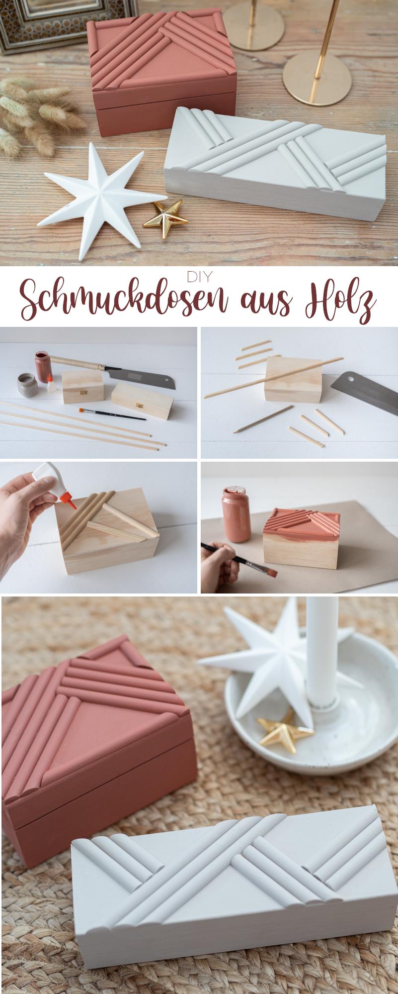 DIY Anleitung für Holzkisten als Schmuckdosen aus Holz mit geometrischem Muster als Aufbewahrung für Schmuck und Geschenkverpackung zu Weihnachten