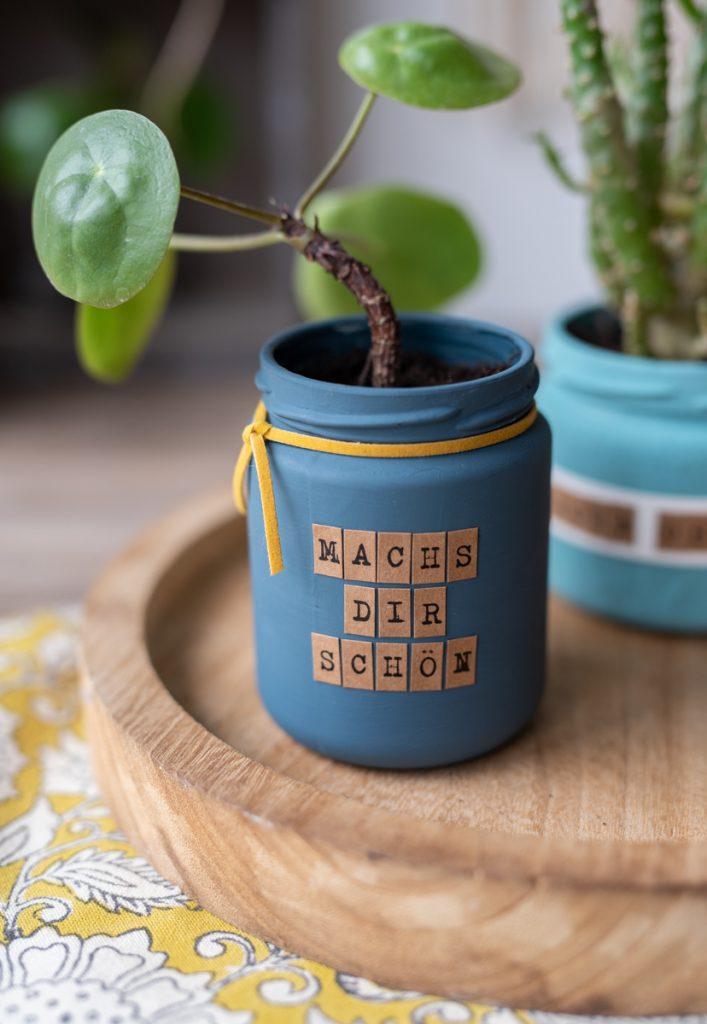 Kleine last minute DIY upcycling Geschenke mit Pilea Ablegern in Einmachgläsern, für die man nicht einkaufen gehen muss und alles zu Hause hat
