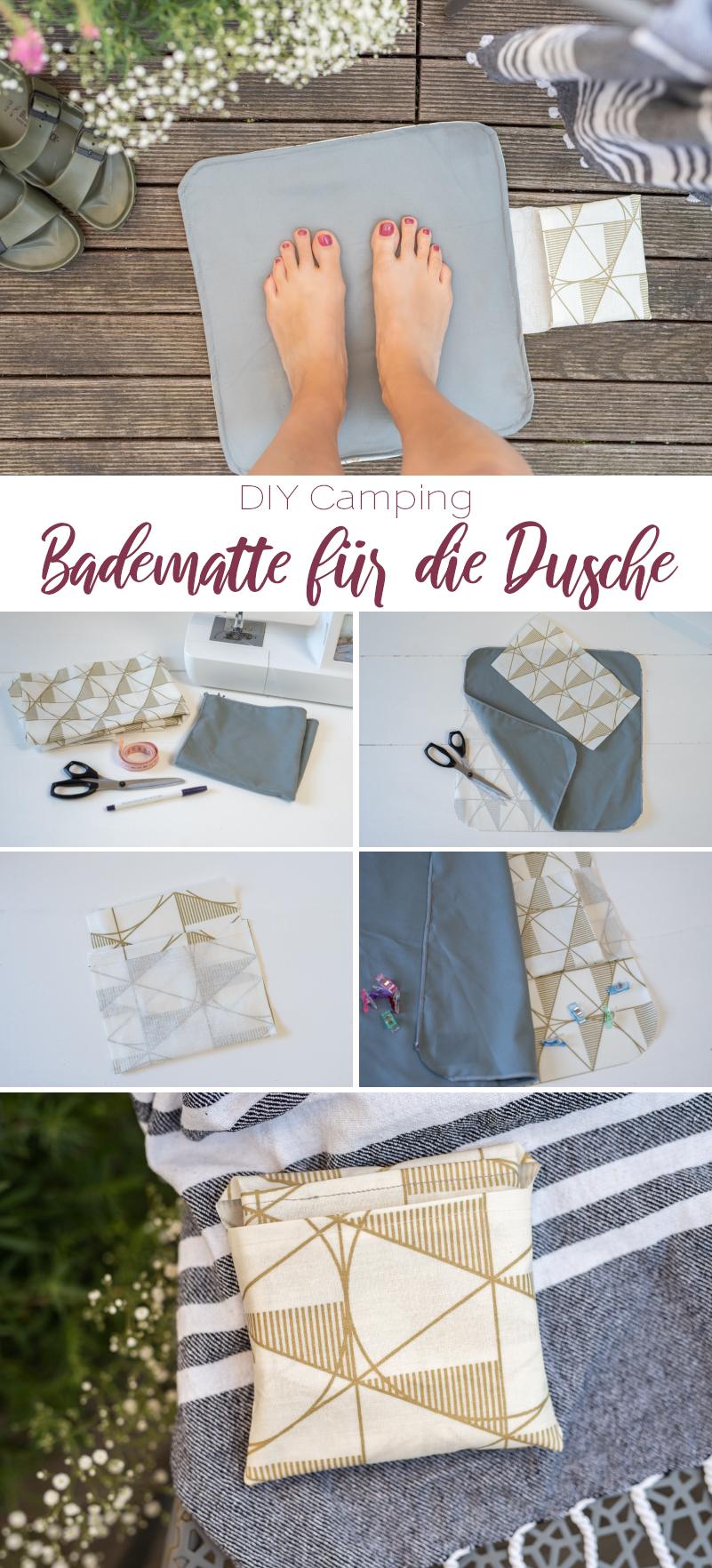 DIY Anleitung für eine selbst genähte mini Badematte für die Dusche auf dem Campingplatz als praktischer Camping Hack für Unterwegs